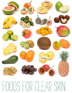 Foods for clear skin. NEED this, obviously.