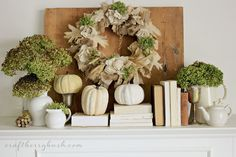 burlap, books, thanksgiving decorations, fall mantels, colors, thanksgiv decor, fall autumn, wreath, mantles