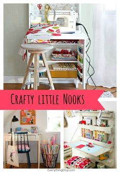 Crafty Little Nooks - Great inspiration for small spaces! EverythingEtsy.com #craftroom