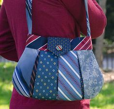 Upcycled tie bag. This would be fun to do with some of my dad's old ties that my brothers don't want.