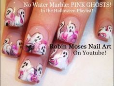 Nail Art   DIY Easy Halloween nails   No Water marbling PINK GHOST Design Tutorial   Art Press
