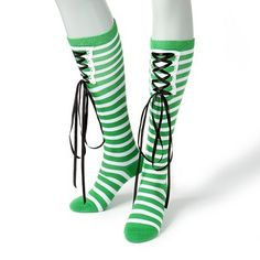 Make a statement in these green & white Striped #StPatricksDay Socks