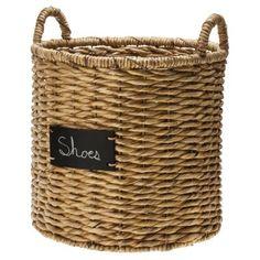 """Smith & Hawken® Round Basket with chalkboard; 16"""""""