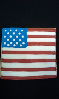 6 Hand Decorated American Flag Cookies