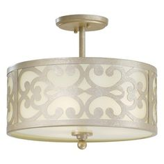 I really want this for my house! Minka Lavery Nanti Three Light Semi-Flush Mount in Champagne Silver - 1498-252