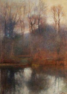 Woodland Scene, Stradey Pond, 1905    by Charles William Mansel Lewis (1845-1931),