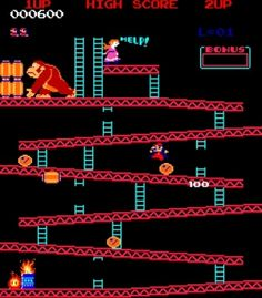 Donkey Kong is Nintendo's first game ever.  To think, it was inspired by Popeye of all things!!!