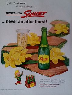1955 Squirt Soda Vintage Advertisment Print Drinks Soda by Inkart, $3.00