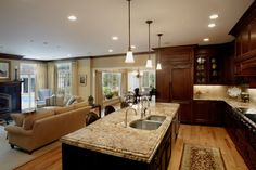 Open Kitchen Family Area Room   Dream Kitchen by Catherine O'Brien   RoomReveal