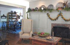 Fabulous fireplace, pewter & fruit garland