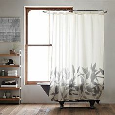 Bamboo flower shower curtain