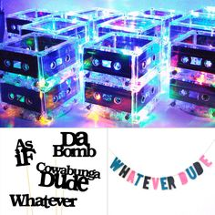 "Take your party decor to the next level with these amazing light-up cassette tape centerpieces ($440 for 10), '90s saying props ($11), and a ""whatever dude"" felt banner ($20)."
