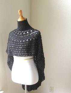 BLACK BOHO PONCHO Crochet Knit Handmade Poncho Mandala Shawl Dark Poncho Feminine Boho Chic