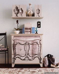 Paint Finish Ideas #DIY  Trompe L'Oeil Chest    Mask run-of-the-mill storage with a little trompe l'oeil magic. We transformed a boxy, unfinished dresser into a dressier rococo masterpiece by painting it and decoupaging the front with blown-up clip art.