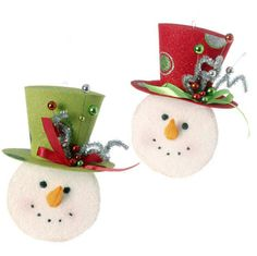 "Snowman with Top Hat Christmas Ornament Set of 2  2 Assorted styles, set includes one of each style Red, White, Green Made of Paper Measures 9"" X 6""  RAZ Holiday on Ice Collection"