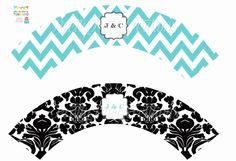 TIFFANY and DAMASK cupcake wrappers YOU by PrettyPartyCreations, $5.25