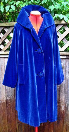 Vintage 50s 60s Navy Blue VELVET Swing Coat