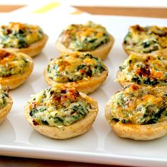 Crab, Spinach, and Mushroom Tarts Topped with Paprika and Old Bay