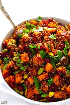 butternut squash, quinoa recipes vegan, pistachios, quinoa stuf, squash quinoa, side salads, healthi, cranberries, stuf butternut