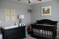 Yellow, Grey and Teal Gender Neutral Nursery  This is gorgeous too...I love grey as a neutral.