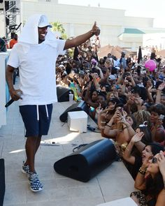 He can feel their energy from two planets away. Kendrick Lamar enjoys his fans during a performance at the Daylight Beach Club at Mandalay Bay Resort and Casino on May 25 in Las Vegas