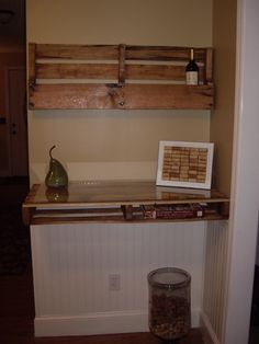 DIY wine rack and shelf/server made from pallets!  This was easy to do and I absolutely love it in our kitchen.  Blog coming soon with more details.