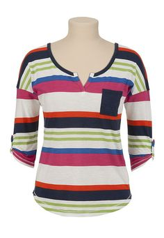 Split Neck Striped Pullover available at #Maurices