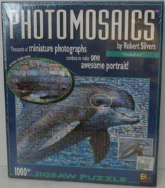 Love dolphins! This Photomosaics by Robert Silvers 1000 piece jigsaw puzzle features the photography of Chayan Khoi. #jigsawpuzzles #chayankhoi #dolphins