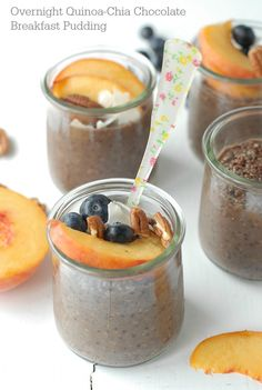 Overnight Quinoa Chia Chocolate Breakfast Pudding with fruit - BoulderLocavore.com