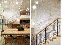 This Starbucks in Greece was inspired by the local history, integrating two natural materials: wood and marble.  It features a locally sourced walnut community table and a focal wall of marble with an engraved Starbucks Siren. logo, starbuck