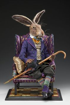 ❥ Autumn Alchemy: Needle Felt Art Hare  One pill makes you larger, the other small, the one that mother gives you, don't do anything at'all ... Go ask Alice, when you're ten feet tall, Susan's Rose Cottage