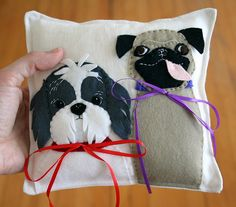 Ring Bearer Dog pillow, love that pug tongue