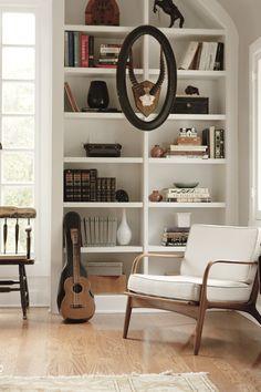Bookshelf styling + chair