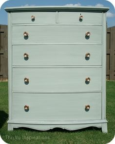 Thrifty Inspirations: Beautiful Green Dresser/Chest of Drawers, glazed with copper hardware