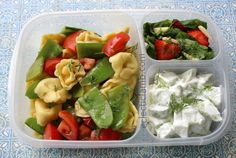 Dill tortellini pasta salad packed for lunch | via http://eclecticlamb.com/