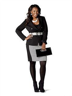 Black Blazer with Houndstooth Belt and Pencil Skirt steve harvey women line