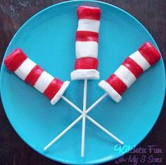 Dr. Suess Pops made with marshmallows and fruit roll-ups.