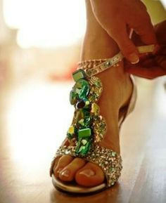Glitzy emerald high heels
