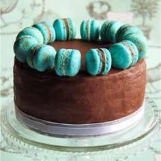 Chocolate butter cream cake with turquoise marshmallows
