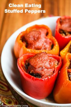 Clean Eating Stuffed Peppers - these are absolutely delicious, and can be frozen and reheated for an easy, healthy dinner