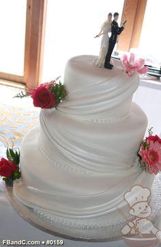 "Design W 0159 | Fondant Wedding Cake | 12""+ 9""+ 6"" | Serves 100 | Fondant Drape, Fresh Flowers | Custom Quote"