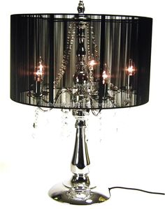 CTL001-Chrome Metal Stand Fabric Cover Crystal Chandelier...