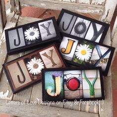 JOY - Photo letter art wood sign - makes great gifts!