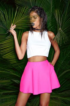 Neon Pink Skirt. White Midriff. Summer Outfit. Summer Fashion. Skater Skirt. Crop Top Outfit