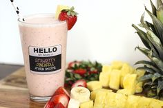 Strawberry Pineapple Protein Smoothie - breakfast tomorrow morning!