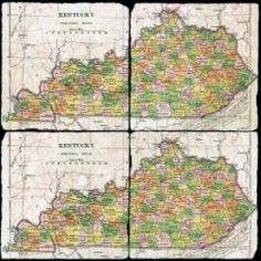 """From Kentucky Monthly magazine, tumbled marble coasters with a historic map of Kentucky circa 1910. This is one of the oldest maps containing all 120 counties. Each coaster measures 4"""" square. Comes gift boxed. Allow extra time for delivery.    http://kentuckymonthly.com/shop/kentucky-map-coaster-set/"""