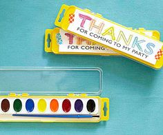 Thank Hues! Send a little inspiration home with these easy favors. Before the party, print copies of a thank-you message and have your child paint them with watercolors. Use pretty tape to affix the notes to the paint sets.@Phyllis Simons Garcia magazine