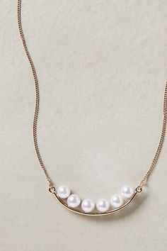pearled crescent necklace / anthropologie crescent necklac, pearl crescent