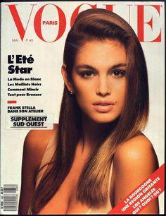 Cindy Crawford en couverture du Vogue Paris mai 1988 http://www.vogue.fr/thevoguelist/cindy-crawford/58