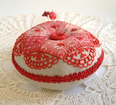 Pincushion, Civil War Patchwork on Linen with Redwork Embroidery.